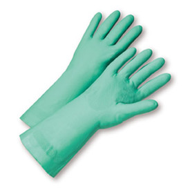 West Chester Premium Green Unlined Unl Nitrile 15 mil 13 Inch Gloves - Pair of two full light green safety work gloves with long wrist coverage.