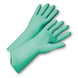 West Chester Premium Green FL Nitrile 15 mil 13 Inch Flocked Lined Gloves - Pair of two full light green safety work gloves with long wrist coverage.