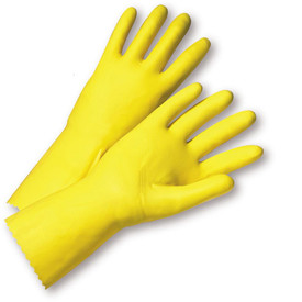 PIP Yellow Latex Flocked Line Economy Gloves - Pair of two full yellow safety work gloves with long wrist coverage.