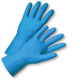 West Chester Blue Latex Flock Lined Puncture Resistant 18 mil Gloves - Pair of two full blue safety work gloves with long wrist coverage.