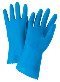 West Chester Blue Latex Flock Lined Premium Posigrip 21 mil Gloves - Pair of two full blue safety work gloves with long wrist coverage.