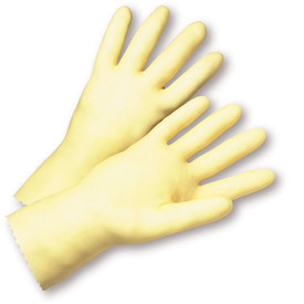 PIP Unlined Latex Economy 16 mil Gloves - Pair of two full tan safety work gloves with long wrist coverage.