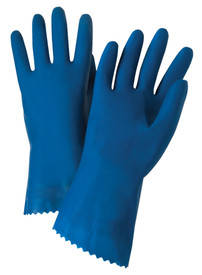 PIP Blue Unlined & Unsupported Latex Economy Gloves - Pair of two full dark blue safety work gloves with long wrist coverage.