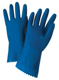 PIP Premium Blue Unlined & Unsupported 18 mil Latex Gloves - Pair of two full dark blue safety work gloves with long wrist coverage.
