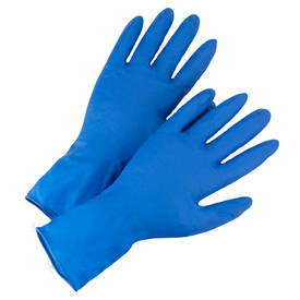 PIP Disposable 14 Mil Powder Free High Risk Exam Latex Gloves - Box of fifty blue latex ambidextrous examination disposable safety gloves.