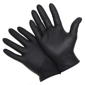 PIP Disposable 5 Mil Powder Free Black Industrial Nitrile Gloves - Pair of two dark black disposable stretch fit safety gloves.
