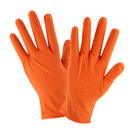 PIP Disposable 7 Mil Powder Free Orange Industrial Nitrile Gloves - Pair of two orange disposable stretch fit safety gloves with dotted exterior.