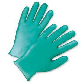 PIP Lightly Powdered 5.5 Mil Green Vinyl Industrial Gloves - Pair of two solid green safety gloves with green hem.