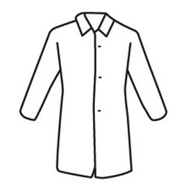 PIP Snap Front Disposable Lab Coat - Diagram of white button up disposable lab coat with collar.