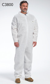PIP White SMMMS Zipper Coverall - Man Wearing white front zippered collared safety coverall with loose wrists and ankles.