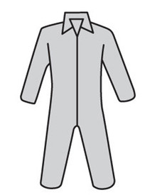 PIP Gray SMMMS Zipper Coverall - Diagram of gray front zippered collared safety coverall with loose wrists and ankles.
