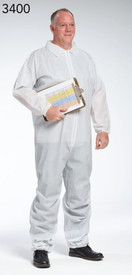 PIP White PE Laminate Elastic Wrists Coverall - Man Wearing White safety front zippered coverall with collar and elastic wrists.