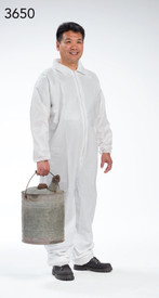 PIP Microporous Zipper Elastic Wrists Coverall - Man wearing white front zippered collared safety coverall with elastic wrists and ankles.