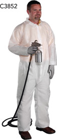 PIP White SMS Zipper Elastic Wrists Coverall - Man Wearing White safety front zippered coverall with collar and elastic wrists and ankles.