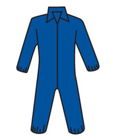 PIP Navy Heavyweight Elastic Wrist Coverall - Blue front zippered safety coverall with collar and elastic wrists and ankles.