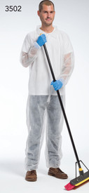 PIP White Lightweight Elastic Wrist Coverall - Man wearing Lightweight white front zippered safety coverall with collar and elastic wrists and ankles.