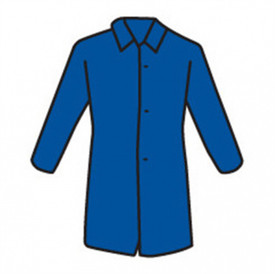 PIP Blue Lightweight Lab Coat - Drawing showing basic lab coat shape with collar, long sleeves, three buttons and long waist.