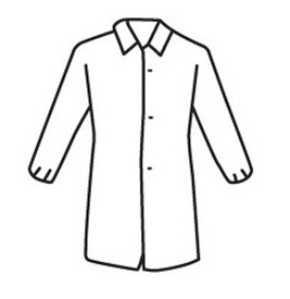 West Chester White Lightweight Elastic Wrist Lab Coat - Lightweight white front buttoned safety lab coat with collar and elastic wrists.