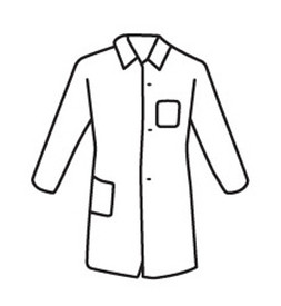 PIP White Lightweight Pockets Lab Coat - Diagram of white front buttoned safety lab coat with collar and front and side pockets.