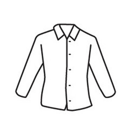 PIP White Lightweight Shirt - Diagram of white front buttoned safety cover shirt with collar and front and side pockets.