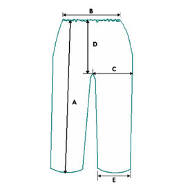 West Chester White Lightweight Elastic Waist Pants - Dimension diagram of white elastic waist pants proportions.