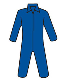 PIP Blue Lightweight Zipper Front Coverall - Diagram of blue front zippered safety coverall with collar and loose wrists and ankles.