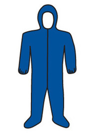 PIP Blue Lightweight Elastic Wrist Coverall - Diagram of blue front zippered safety coverall with attached hood and elastic wrists.