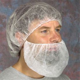 West Chester White 18 Inch Disposable Latex Free Beard Cover - Man wearing a hair net and beard cover.