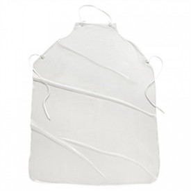 PIP Sewn Edge Vinyl Protective Aprons - White vinyl apron with neck strap and tie back strings.