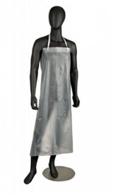 PIP Raw Edge Vinyl Protective Aprons - Illustration of a clear vinyl apron from armpits to shins with a white strap around the neck, on a black manikin.