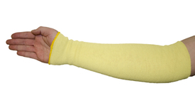 West Chester Kevlar Single Ply Cut Resistant Sleeves - Yellow sleeve on one arm from above the elbow down to over the wrist.
