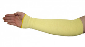 PIP Kevlar Two Ply Cut Resistant Sleeves - Yellow fabric sleeve arm protector on model's right arm.