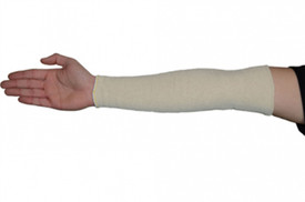 West Chester Cotton Sleeve Protectors - White cotton arm sleeve on model's right arm.