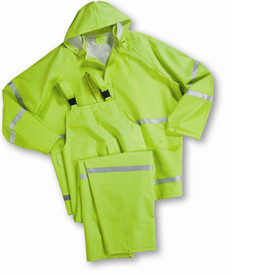 PIP Class 1 Lime 3 Piece PVC Rain suit - High visibility yellow rain jacket and overall rain pants with attached hood, front buttons, and reflective strips.
