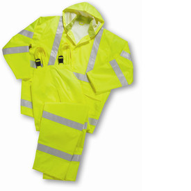PIP ANSI Class 3 Hi-Viz Lime 3 Piece Rain suit - High visibility bright yellow rain jacket and overall rain pants with attached hood, front buttons, and reflective strips.