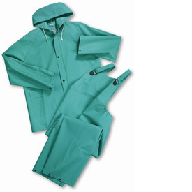 PIP Green Flame & Chemical Resistant 2 Pc Acid Suit - Light green rain jacket and overall rain pants with attached drawstring hood, and front buttons.