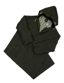 West Chester Black Flame Resistant Long 60 Inch Rain Coat - Solid black rain jacket and overall rain pants with attached drawstring hood, front pockets, collar, and front buttons.