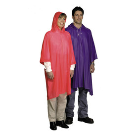 West Chester 10 mil Attached Hood Rain Poncho - Solid red and purple drawstring attached hood pull over rain ponchos.