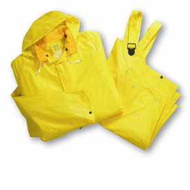 West Chester Lightweight Economy Single Ply PVC Rain Suit - Solid yellow rain jacket and overall rain pants with attached drawstring hood, collar, and front buttons.