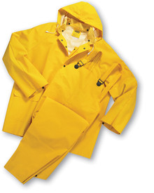 West Chester Mid-Weight 35 mil 3 Piece Rain Suit - Solid yellow rain jacket and overall rain pants with attached drawstring hood, collar, front pockets, and front buttons.