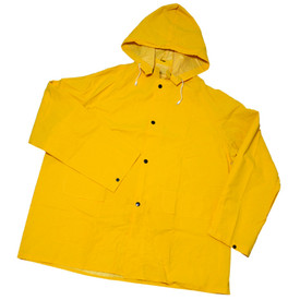 PIP 35 mil Yellow Rain Jacket - Solid yellow rain jacket with front buttons, attached drawstring hood, and adjustable size wrists.