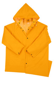 PIP 35 mil Mid Length 48 Inch Yellow Rain Jacket - Solid yellow long shin length rain jacket with collar, front buttons, and front pockets.