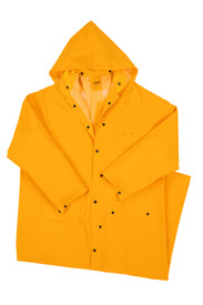 West Chester 35 mil Mid Long 60 Inch Yellow Rain Jacket - Solid yellow long full length rain jacket with collar, front buttons, and front pockets.