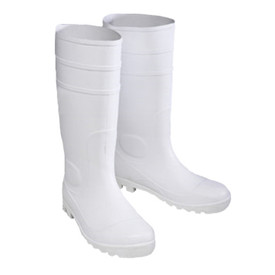 West Chester Heavy Duty 16 Inch White PVC Rain Boot - Solid white tough bottom treaded heavy duty rain boots with elevated heel.