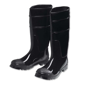 PIP Heavy Duty 16 Inch Black PVC Steel Toe Rain Boot - Solid black tough bottom treaded heavy duty rain boots with elevated heel.