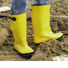 PIP Yellow 17 Inch Over Shoe Rain Boot (Slush Boot) - Yellow work rain boots with black bottom treads and black adjustable size shin strap.