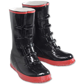 PIP Heavy Duty Black 17 Inch Over Shoe Rain Boot - Black work rain boots with red bottom treads and black front adjustable size clips.