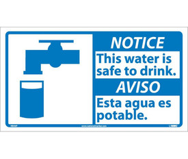 "Notice This Water Is Safe To Drink Graphic Bilingual Sign - Aris Industrial White square English and Spanish sign with the words ""NOTICE THIS WATER IS SAFE TO DRINK"" In black text. Blue notice background. Water tap over glass graphic next to text."