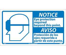 "Notice Eye Protection Required Graphic Bilingual Sign - Aris Industrial White square English and Spanish sign with  the  words ""NOTICE EYE PROTECTION REQUIRED BEYOND THIS POINT"" In black text. Blue notice background. Man wearing glasses graphic next to text."