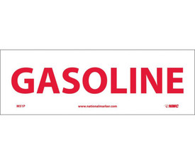 "Gasoline 4x12 Sign - Aris Industrial White rectangular sign with a words ""GASOLINE"" in red text."